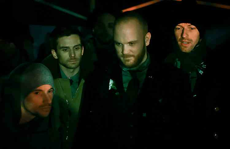 Mat with the band on the set of the Christmas Lights video, which he directed (Photo: Miller)
