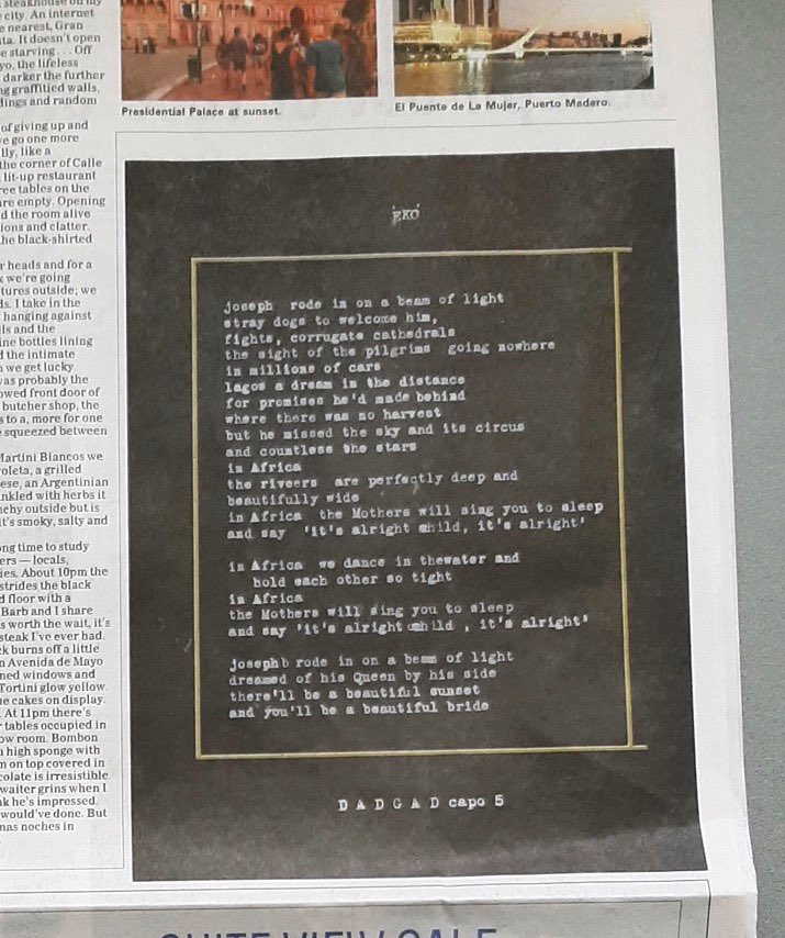 Everyday Life lyrics revealed in Otago Daily Times